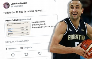 Ginóbili, elegido en Cadena 3.com como el mejor representante argentino del mundo.