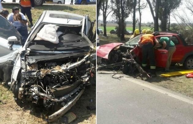 Un Ford Focus y una camioneta Fiat Strada impactaron de frente en Sinsacate.