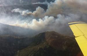 El incendio sigue activo en el Valle de Traslasierra.