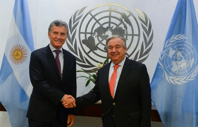 El jefe de Estado argentino se reunió con el titular de la ONU, Antonio Guterres.