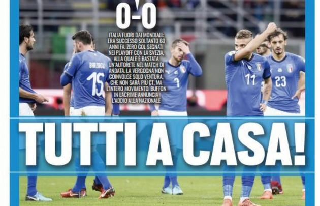 Los medios italianos reflejaron la dolorosa eliminación.