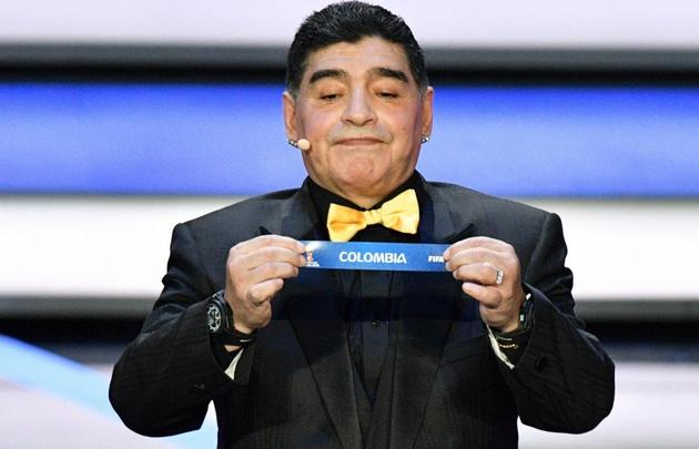 Maradona durante el sorteo de los grupos del Mundial.
