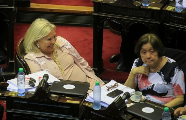 Elisa Carrió, durante la sesión en la que se aprobó el proyecto oficialista.