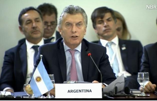 Macri en la 51ª cumbre de jefes de Estado del Mercosur.