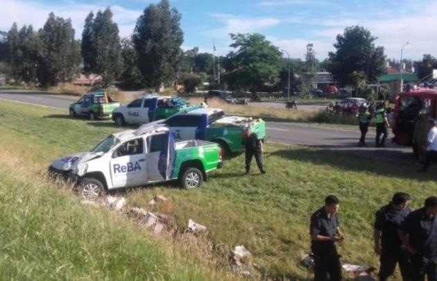 Una camioneta de Reba volcó en Mar del Plata