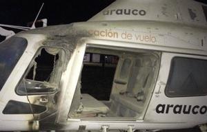 Uno de los helicópteros incendiados (Foto: Captura Arauco TV)