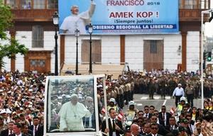 El Papa, durante su paso por Trujillo.