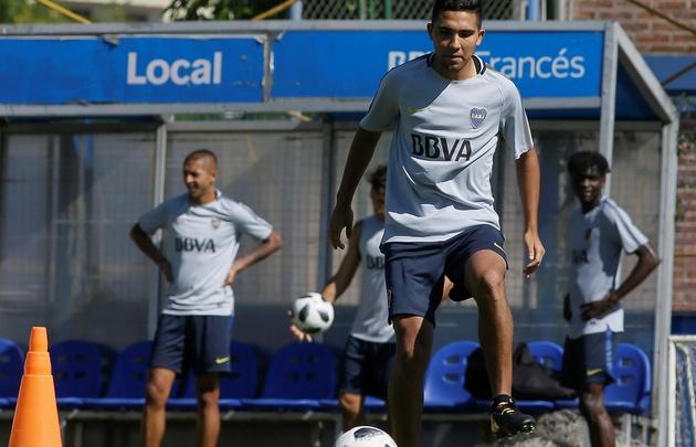 ''Bebelo'' Reynoso realizó este miércoles su primera práctica en Boca.