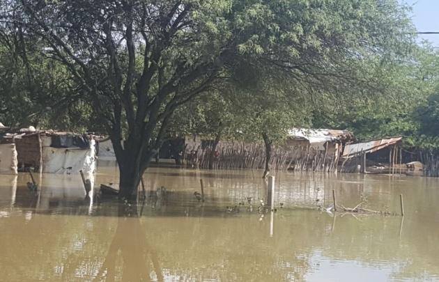 Inundaciones en Santa Victoria Este.