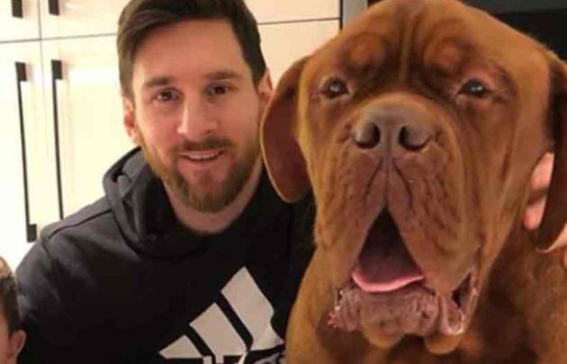 Furor por la foto de Messi y su perro ''Hulk''.