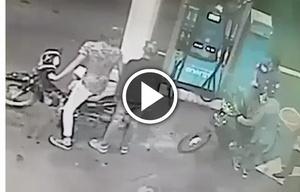 Robo y tiros en una estación de servicio.