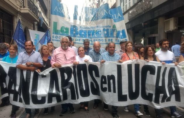 Marcha de Bancarios en Buenos Aires.