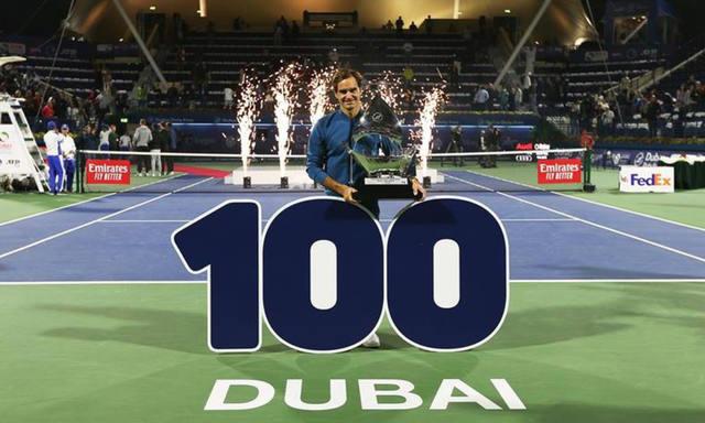 FOTO: Federer ganó en Dubai y obtuvo el título 100 de su carrera