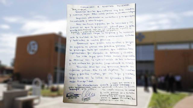FOTO: Carta de los médicos que practicaron la cesárea a una niña