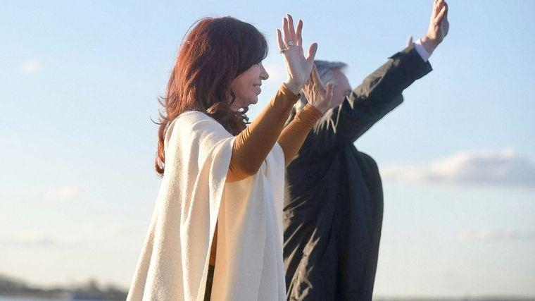 FOTO: Cristina y Alberto, en el acto por el 17 de Octubre en La Pampa.