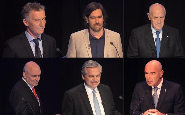 FOTO: Los seis candidatos posaron para la foto al final del debate.
