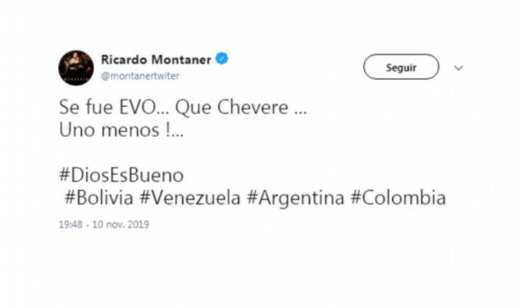 Ricardo Montaner: ¡Se fue Evo, qué chévere, uno menos!