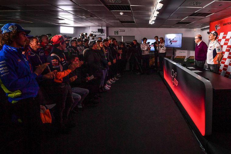 FOTO: Jorge Lorenzo y Carmelo Espeleta -CEO Dorna- en la conferencia del Ricardo Tormo