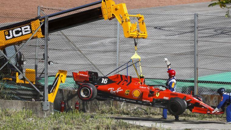FOTO: Leclerc roto y Vettel se marcha, pero durará poco, también rompió su TD