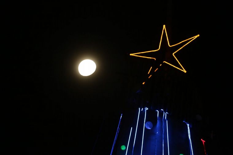 FOTO: Con la luna de fondo, el árbol estaba a punto de encenderse.