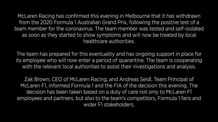 FOTO: McLaren Racing comunicó que se baja del GP de Australia, Sainz y Norris no corren