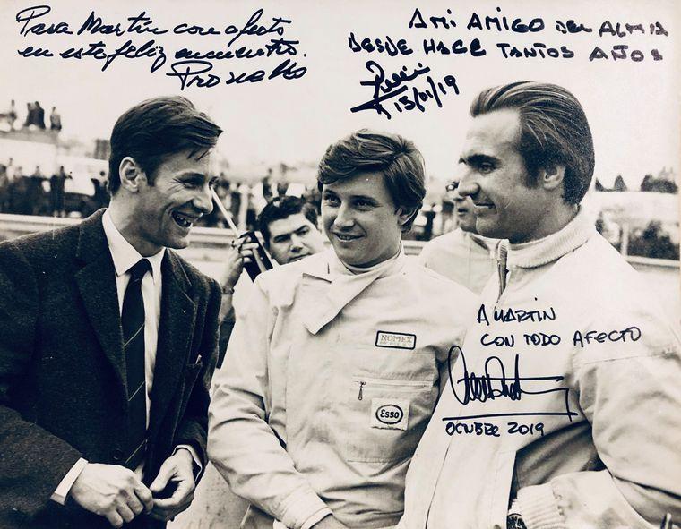 "FOTO: Di Palma,Reutemann y Pascualini en primera fila en el ""Cabalén""."