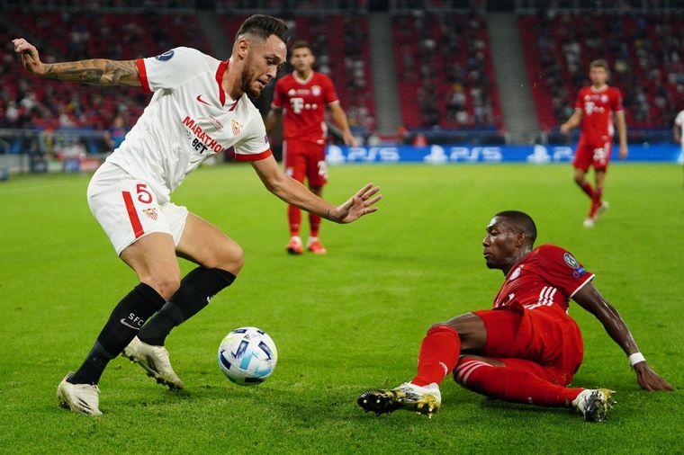 FOTO: Bayern Múnich y Sevilla chocan por la Supercopa de Europa.