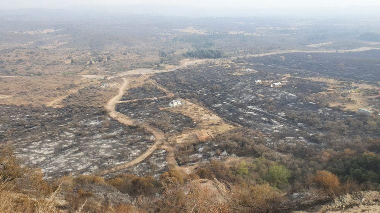 FOTO: Bomberos salvaron un grupo de casas en Las Jarillas.