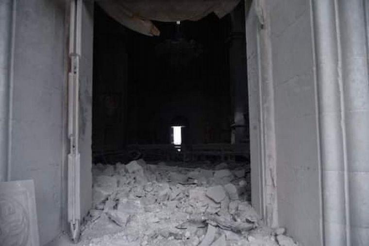 FOTO: Así quedó la catedral de Ghazanchetsots, en Armenia.