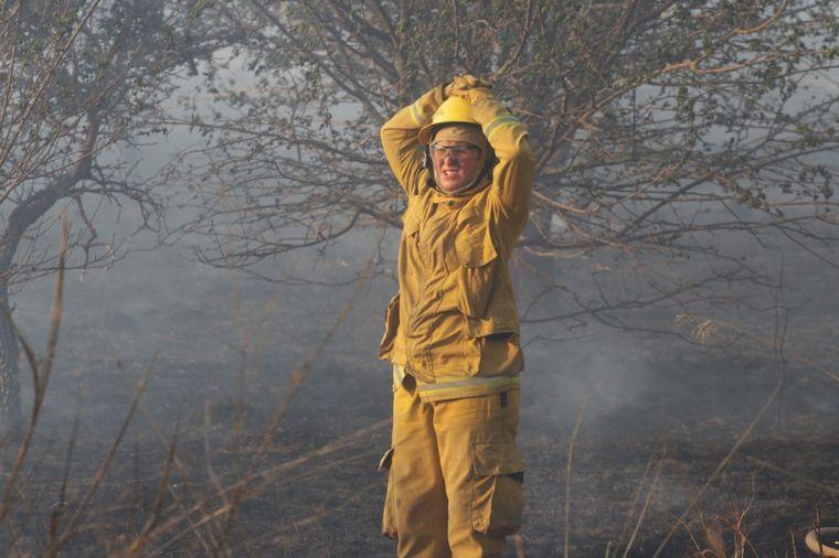 FOTO: El fuego, cerca de Malagueño.