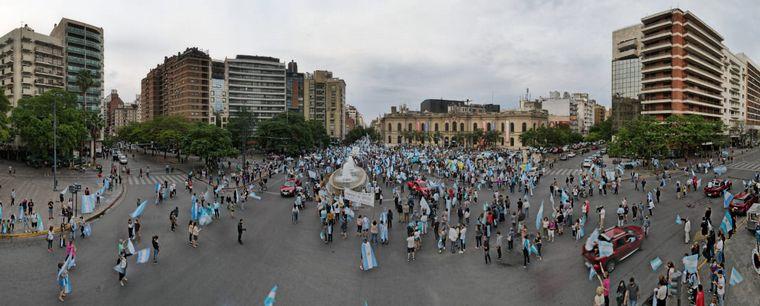 FOTO: La ex ministra de Seguridad, en la movilización en la capital cordobesa.