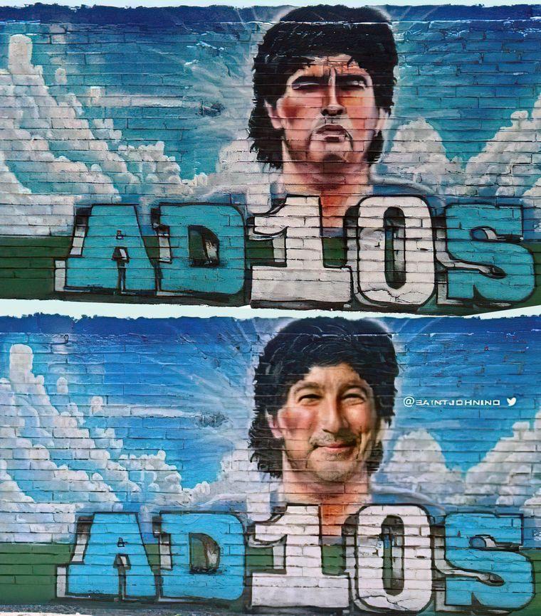 FOTO: Pachu Peña y un curioso homenaje a Maradona.