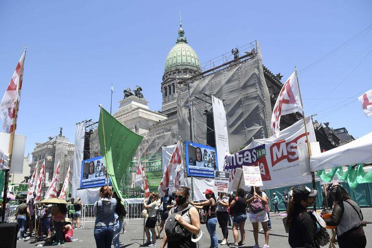 FOTO: La marcha verde, este jueves en inmediaciones del Congreso.