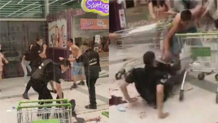 FOTO: Un joven apuñaló a dos guardias en un supermercado de Chile