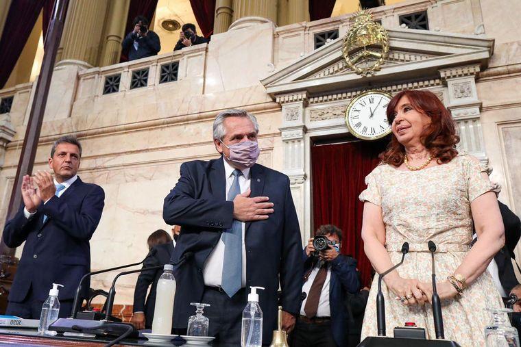 FOTO: Alberto Fernández en la apertura de sesiones del Congreso.