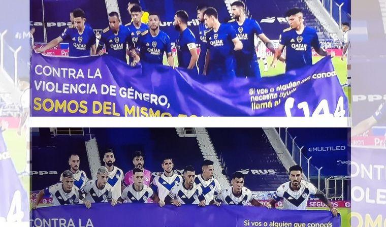 FOTO: Vélez y Boca se sumaron a la campaña contra la violencia de género