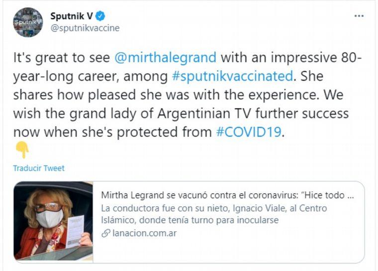 FOTO: La cuenta oficial de Sputnik V felicitó a Mirtha Legrand