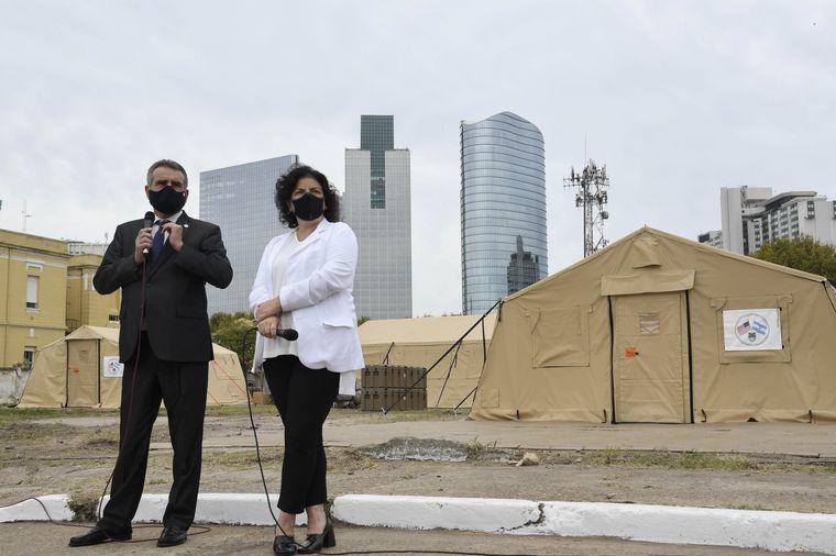 FOTO: Presentaron tres hospitales modulares donados por EE.UU