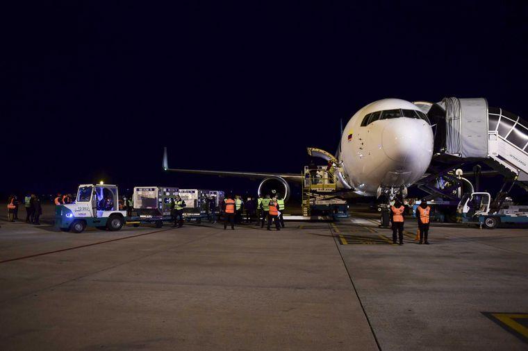 FOTO: El presidente Alberto Fernández recibió el avión cargaba casi un millón de dosis.