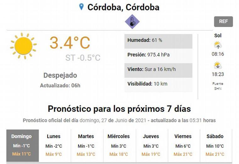 FOTO: Llegó el invierno a Córdoba.